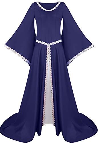 LETSQK Renaissance Medieval Dresses Irish Victorian Halloween Costume Cosplay Gown Blue 2XL ()