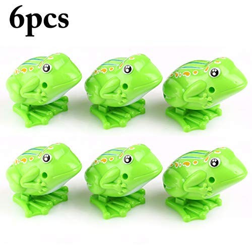 Fansport6PCS Jumping Frog Creative Wind up Clockwork Educational Frog Toy Party Favors