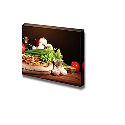 Lovely Piece of Art, Delicious Pizza Vegetables and Spices on Wooden Table Wall Decor, Premium Product