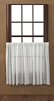 VHC Brands 10763 Tobacco Cloth Antique White Tier Fringed Set of 2 L36xW36