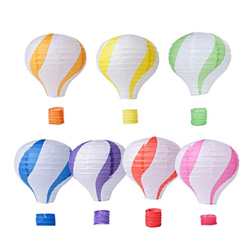 Cieovo Party Hanging 12 inches Colors Hot Air Balloon Paper Lanterns Christmas Accessories Birthday Party Wedding Decoration Stripe Set, Pack of 7 Pieces