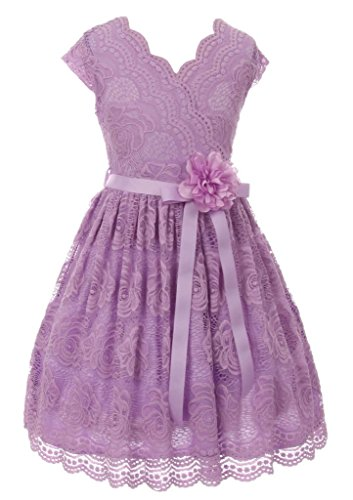 Lilac Big Girls Floral Design Lace Easter/Spring Dress Sizes 16