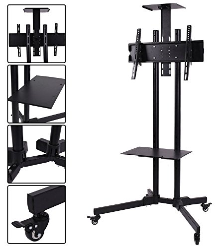 TV Cart Stand Plasma LCD LED Flat Screen Panel w/ Wheels Mobile Fits 32''to 55'' by Unknown