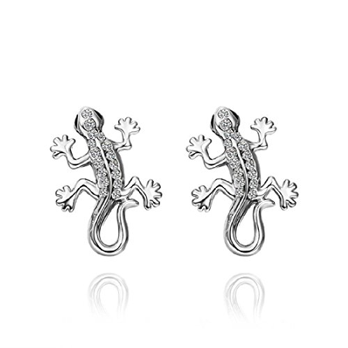 Cute Stud Eardrop White Gold Plated 18k Piercing Gecko Earring Dangle (Gecko Dangle)