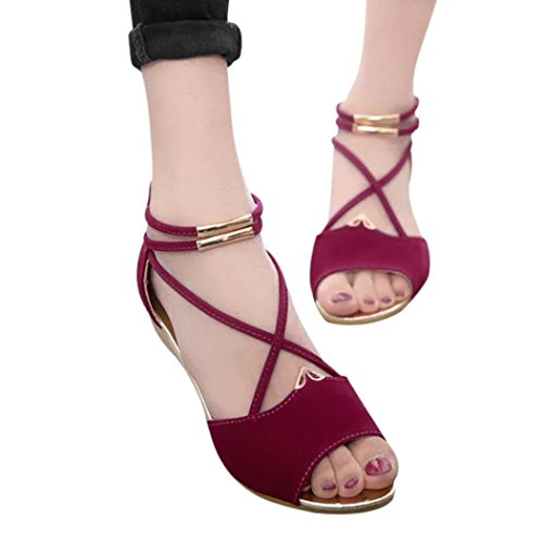 Red Wedge Peep Platform Shoes Heel Fish Roman Toe Casual Vintage Strap High Mouth Sandals Women Ankle HLHN Lady R8cwTqpB