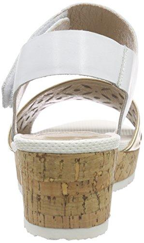 SPMLexus Sandal - sandalias de tacón con cierre al tobillo Mujer Varios Colores - Mehrfarbig (White 011/Gold)