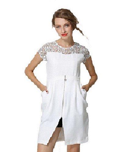 PU&PU Robe Aux femmes Moulante Sexy,Mosaïque Col Arrondi Au dessus du genou Polyester , white-l , white-l