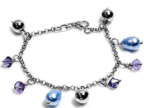 Charm Rolo Link Chain Bracelet Simulated Pearl Sterling Silver - Silver Jewelry Accessories Key Chain Bracelet Necklace Pendants