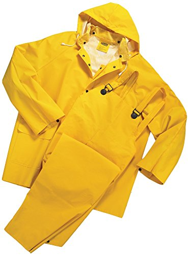 ERB Safety 14357 4035 3 Piece .35Mm PVC Over Polyester Rain Suit, Yellow, 6X-Large Polyester ()