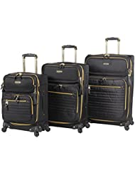 Steve Madden Luggage 3 Piece Softside Spinner Suitcase Set Collection (One Size, Illusion Black)