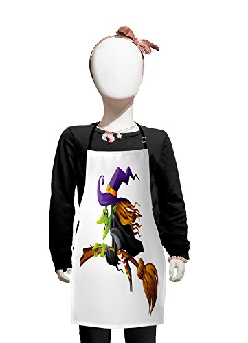 Lunarable Witch Kids Apron, Evil Scary Old Woman Flying Creepy Fairytale Fantastic Character Female Magician, Boys Girls Apron Bib with Adjustable Ties for Cooking Baking and Painting, -