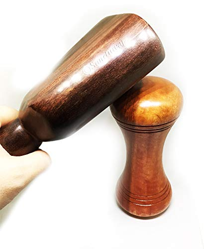 Big Dumbbell Tok Sen Add-on Part Hammer Wooden Massager Tool Deep Tissue Therapy Toksen Massage Stick Trigger Point Back Muscle Foot Strike Wedge Stamp Percuss Wood Thai 6.5 X 2.8 Inches