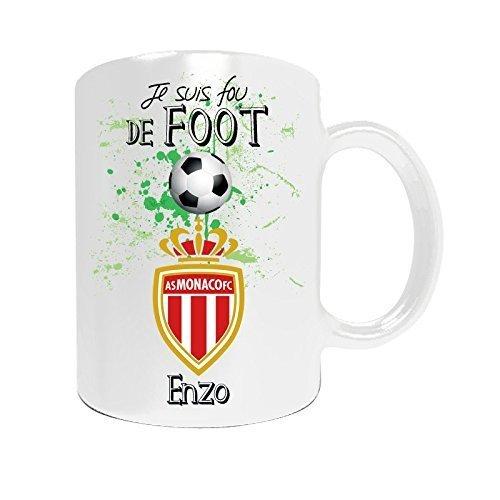 Mug de foot Monaco à personnaliser avec votre prénom - Cadeau personnalisé foot ligue1 Monaco - Cadeau personalisé fête des pères, anniversaire, Noël