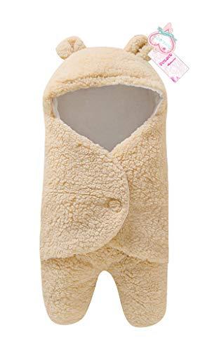 Newborn Baby Boy Girl Cute Cotton Plush Receiving Blanket Sleeping Wrap Swaddle (Beige, One Size)