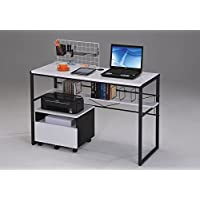 1PerfectChoice Ellis Home Office Computer Writing Desk Optional File Cabinet Black White Metal