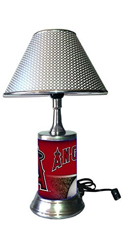 JS Angels Table Lamp with Chrome Shade, Your Favorite Team Plate Rolled in on The lamp Base, LAA, MLB -