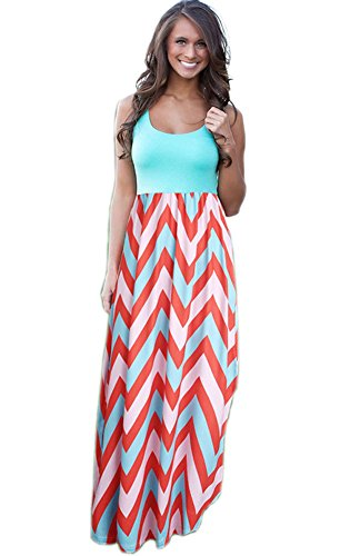 - SDolphin Womens Striped Zig Zag Scoop Neck Chevron Print Tank Maxi Long Dress Orange XL