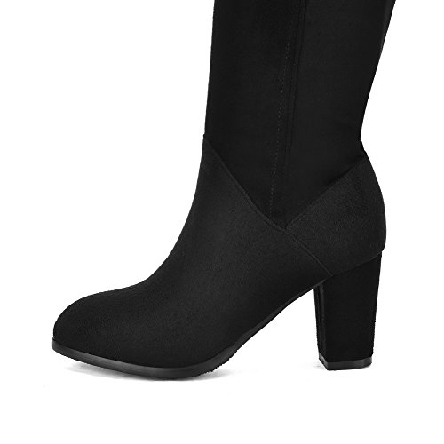 Womens Boots Zipper top High Black Imitated High Toe Closed AmoonyFashion Heels Round Suede ZSdxPZwF
