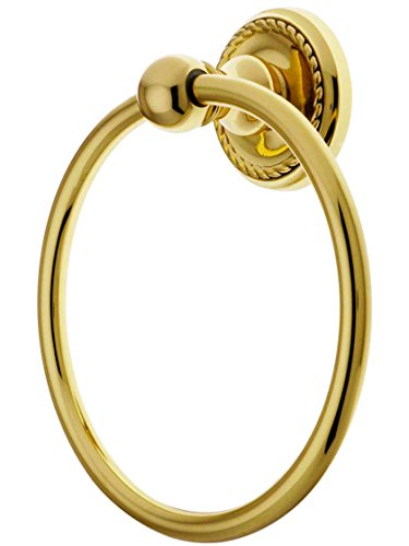 Brass Towel Ring with Rope Rosette in Polished Brass ()