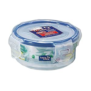 Lock & Lock Polypropylene Round Food Container With Dividers, 140 ml HPL934C, Clear Blue