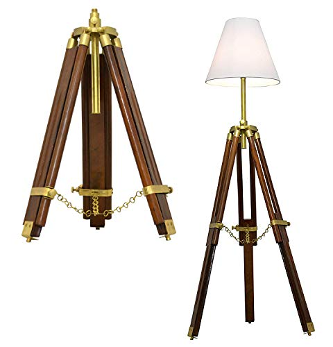 Brass Nautical Timber Tripod Floor Lamp Stand Teak Wood Solid Lamp Stand Natural Wood Decor Without Shade