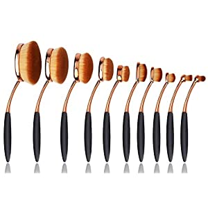 BeautyKate 10 Pcs Pro Oval Toothbrush Makeup Brush Set Foundation Contour Powder Blush Conceler Brush Makeup Cosmetic Tool Set Rose Gold
