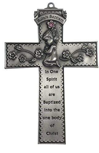 (Inspire Nation Baby Girls Pewter Baptismal Wall Cross with Pink Crystals 5 Inches)