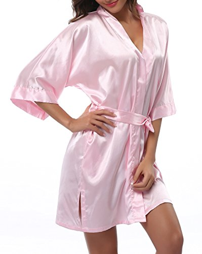 FADSHOW Women's Satin Robes Short Wedding Robes for Bridal Party,Light Pink,Large by FADSHOW