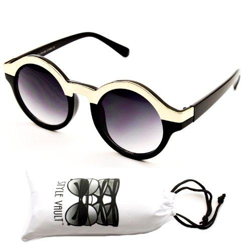 V130-vp Style Vault Round Metal Top Sunglasses (1465 gold/black, - Sunglasses Black Round Gold And