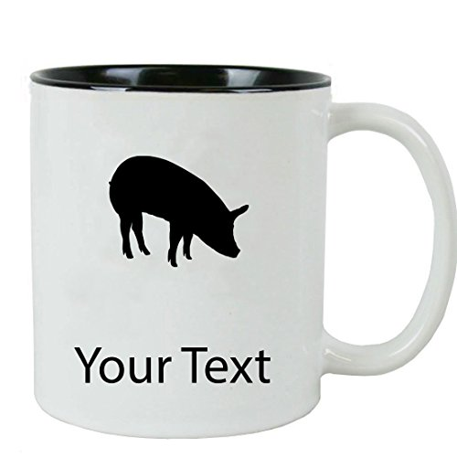 Personalized Custom Pig 11 oz White Ceramic Coffee Mug with White Gift ()