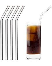 HALM Glas Strohhalme Wiederverwendbar Trinkhalm - 4 Stück gebogen 23 cm + plastikfreie Reinigungsbürste - Spülmaschinenfest - Nachhaltig - Glastrinkhalme Glasstrohhalme für Smoothies, Long-Drinks