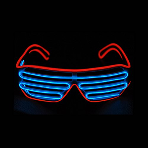 PINFOX Glow Shutter Neon Rave Glasses El Wire Flashing LED Sunglasses Light Up DJ Costumes for Party, 80s, EDM RB03 (Red - Blue) ()