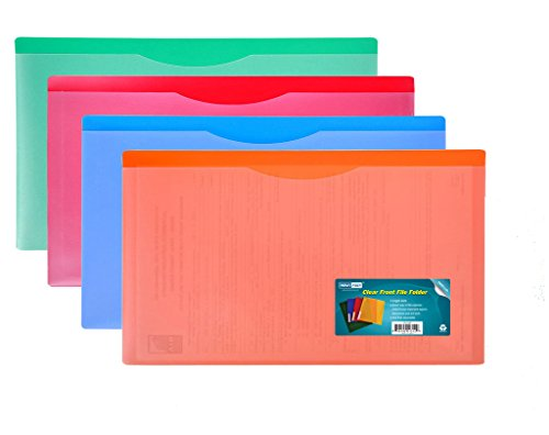 Nova Filer Waterproof Poly-File Folders with Top Tab, Assorted Colors, 4pcs Pack, Legal Size (Legal Size Clear Folder)
