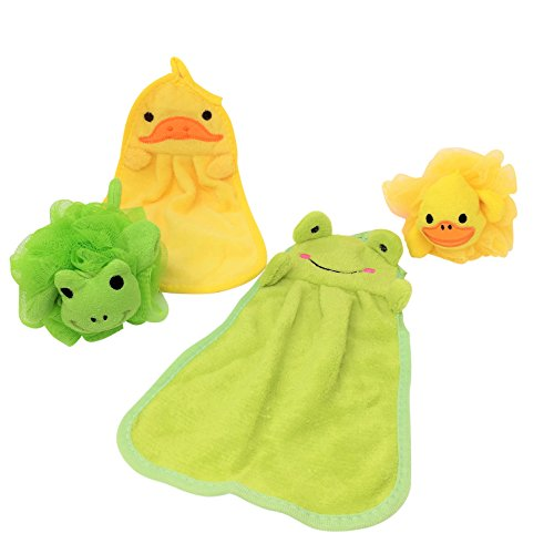 Baby Gift Set Bundle Duck And Frog Soft Plush Hand Towels