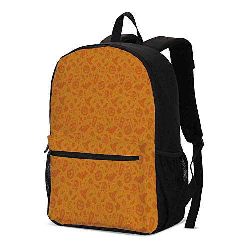 Halloween Decorations Fashional Backpack,Monochrome Design with Traditional Halloween Themed Various Objects Day for School Travel,12.2