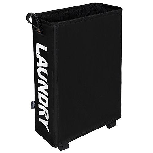 DOKEHOM Slim Laundry Basket with Leather Handle on Wheels, Foldable Corner Storage Bins, Collapsible Rolling Laundry Hamper. L39 xW19 xH58cm (Slim, Black) (Corner Hamper Basket)