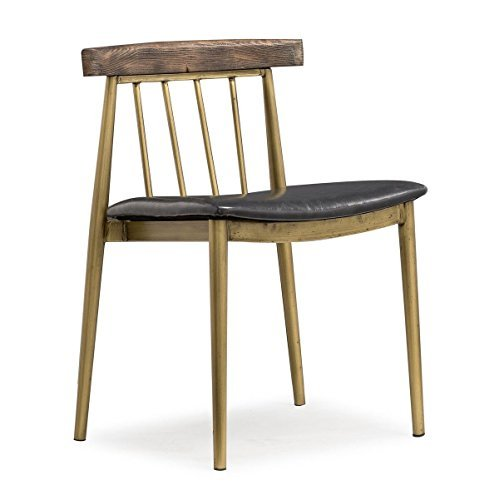 Tov Furniture The Alfie Collection Industrial Style Short Back Eco-Leather Upholstered Pine and Steel Dining Chairs (Set of 2), Brushed Brass Finish, Black Upholstery