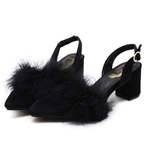 cinturino da marrone GAOLIXIA peluche donna alto caviglia in Black Elegante Estate nero charme Tacco alla di Sandali Primavera Sdq0SR