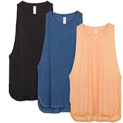 icyzone Yoga Tops Activewear Workout Clothes Sports Racerback Tank Tops For Women (S, Black/Denim/Pumpkin)