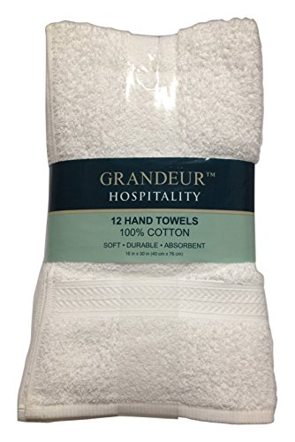 Grandeur Hospitality Hand Towels, 12 Count