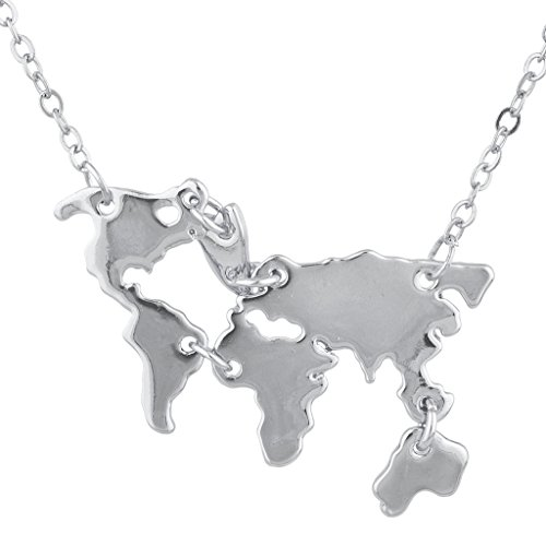 (Lux Accessories Silver Tone USA United States of America Map Pendant Necklace)