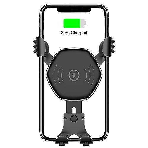 Wireless Car Charger,10W QI Auto-clamping Gravity Car Mount Air Vent Phone Holder,Fast Charging for iPhone X, iPhone 8,Samsung Galaxy S9, S9 plus, S8, S8 plus,note 8 and Qi Enabled Dev (Black)