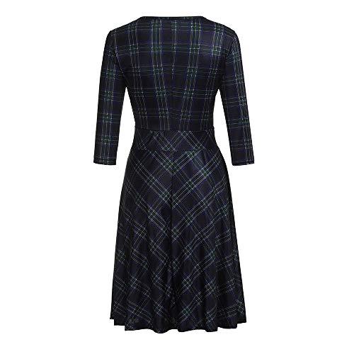 Robe Bureau Vintage Travail Casual Longueur Au Womens longues Manches Merical De Bleu Genou Plaid Mi kZuiPX