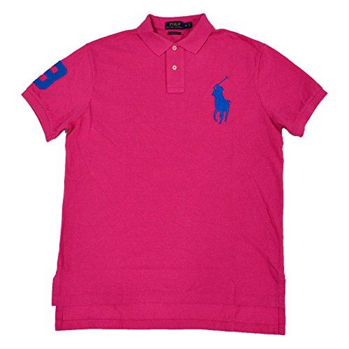 Polo Ralph Lauren Big Pony Custom Fit Mesh Polo Shirt (L, - Ralph Pink
