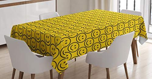 Ambesonne Emoji Tablecloth, Flat Smiley Faces Expressing Happiness in Diagonal Order Joyful Childhood, Dining Room Kitchen Rectangular Table Cover, 60 W X 84 L Inches, Green Yellow]()