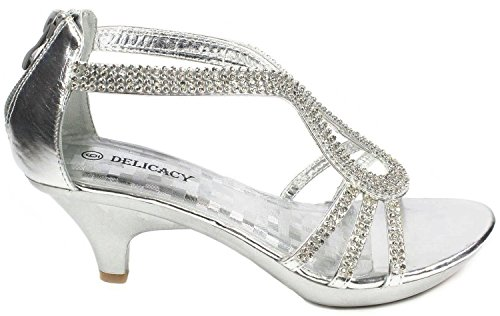 JJF Shoes A36 Silver Classy Rhinestone Angle Strap Evening Dress Low Heel Sandals-6.5