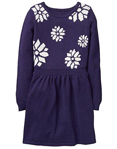 Gymboree Little Girls' Snowflake Sweater Dress, Navy, 10 (Dress Sweater Snowflake)