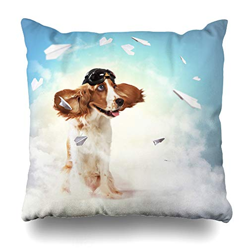 Ahawoso Throw Pillow Cover Funny Brown Aviator Dog Wearing Helmet Pilot Goggles Dreams Sky Gray Glasses Design Grand Home Decor Cushion Case Square Size 20