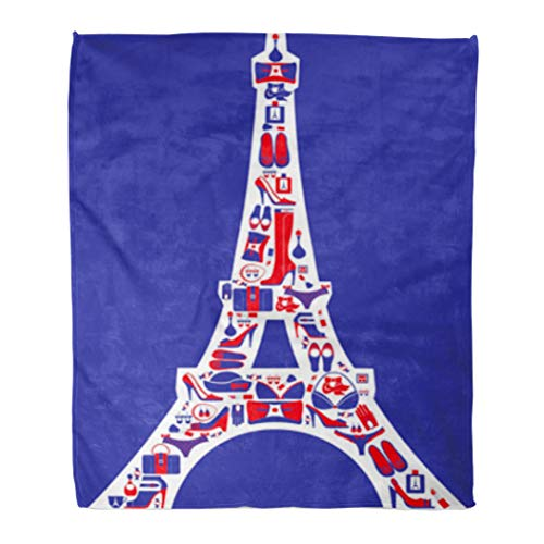 Golee Throw Blanket Blue Paris French Red Accessorize Chic Eiffel Handbag Hat Pattern 50x60 Inches Warm Fuzzy Soft Blanket for Bed Sofa