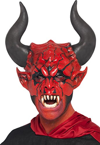 [Smiffy's Unisex Devil Lord Mask, Red, Half Face, One Size, 38860] (White & Red Clown Half Mask)